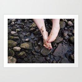 Muddy Feet by River Art Print