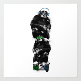 Monkey Music Retro Boombox. Art Print
