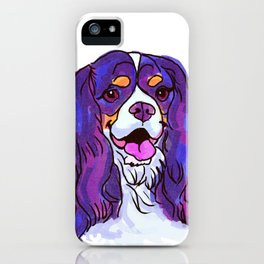 The happy tricolor Cavalier King Charles Spaniel Love of My Life! iPhone Case