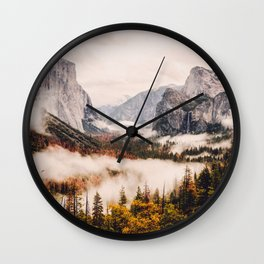 Amazing Yosemite California Forest Waterfall Canyon Wall Clock