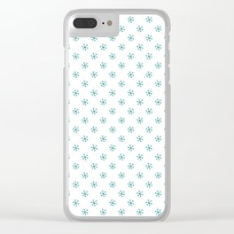 Teal Green on White Snowflakes Clear iPhone Case