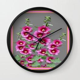 Fuchsia Pink Holly Hocks Grey Vinette Wall Clock