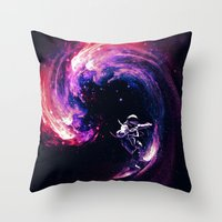 surfing Throw Pillows featuring Space Surfing by nicebleed