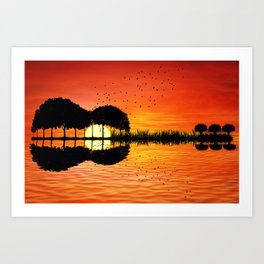 guitar island sunset Art Print