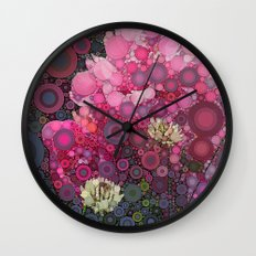 Pink Flowers at Twilight Abstract Wall Clock