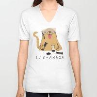lab V-neck T-shirts featuring lab-rador by Louis Roskosch