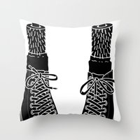 chuck Throw Pillows featuring Chuck Feet by T M Addison