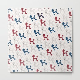 Modern red navy blue gray poodle pastel brown chevron Metal Print