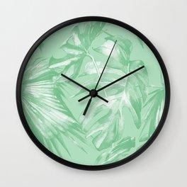 Tropics Mint Green Palm Leaves Wall Clock