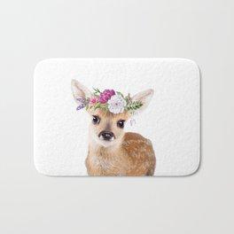 Baby Deer with Flower Crown Bath Mat