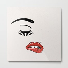 GIRL FACE - EYE - LIPS Metal Print