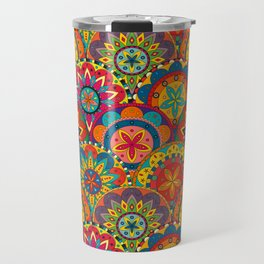 Funky Retro Pattern Mandalas Travel Mug