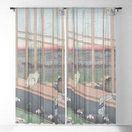 Bobtail Cat Sheer Curtain