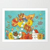 autumn bird Art Print
