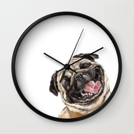 Happy Laughing Pug Wall Clock