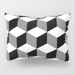Cube Pattern Black White Grey Pillow Sham