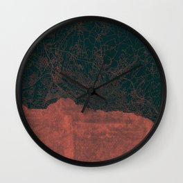 Lausanne Map Red Wall Clock