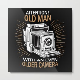 Old Man With Camera Photographer Gift Metal Print