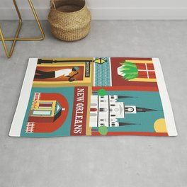 New Orleans, Louisiana - Collage Illustration by Loose Petals Rug