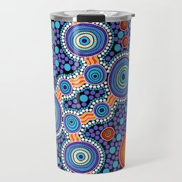 Authentic Aboriginal Art - The Journey Blue Travel Mug
