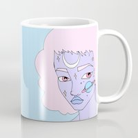 saturn Mugs featuring Saturn by Milly Scarlett