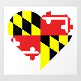 Maryland Flag Heart Art Print
