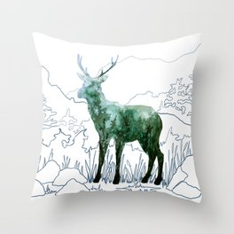 Watercolor Deer on Line Drawn Mountain Throw Pillow