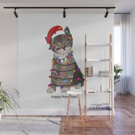 Cute cat with Santa Claus hat and light bulb Wall Mural
