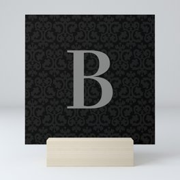 Modern Black Grey Damask Letter B Monogram Mini Art Print