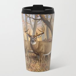 Whitetail Deer Trophy Buck and Doe in Autumn Metal Travel Mug
