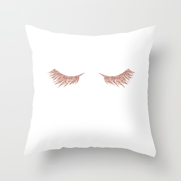 Pretty Lashes Rose Gold Glitter Pink Throw Pillow By