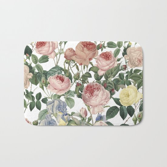 Vintage Roses and Iris Pattern - Flower Dreams by #UtART Bath Mat