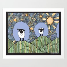 Sheep Hills Art Print