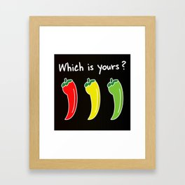 Three Hot Chili Peppers, Which is your? Framed Art Print