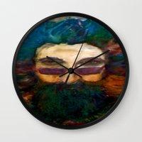 grateful dead Wall Clocks featuring Jerry Garcia Watercolor Portrait Grateful Dead by Acorn