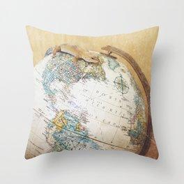 Globe-Trotting Gecko Throw Pillow