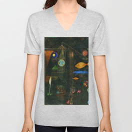 'Fish Magic No. 2' Aquatic, Celestial, Floral, Earthly Entities Portrait by Paul Klee Unisex V-Neck