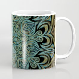 Teal and Gold Mandala Swirl Coffee Mug