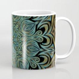 Teal and Gold Mandala Swirl Coffee Mug