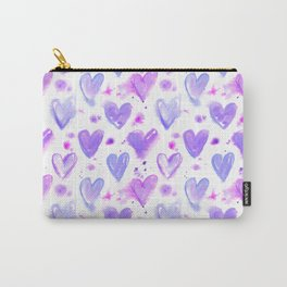 Purple Passion Watercolor Hearts Carry-All Pouch