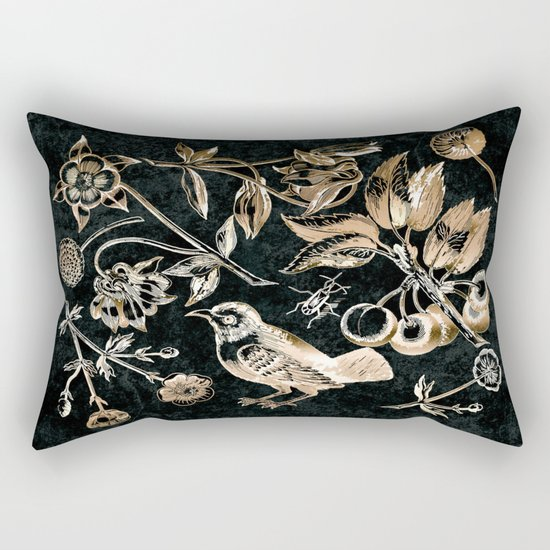 Golden set of birds, beetle, flowers and cherry fruit. Rectangular Pillow