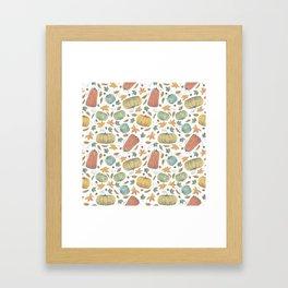 scattered autumn pumpkins on white Framed Art Print