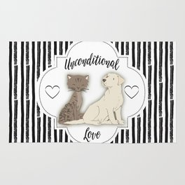 Unconditional Love Cat and Dog as Family Members Stripes Rug