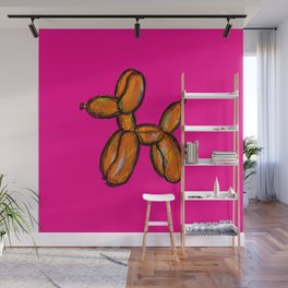 Doggy - orange & pink Wall Mural