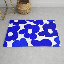 Large Blue Retro Flowers White Background Fresh Blue And White  #decor #society6 #buyart Rug