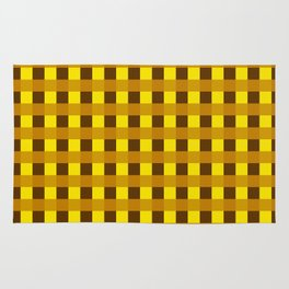 Retro Yellow Squares Rug