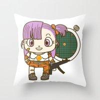 dragonball Throw Pillows featuring Bulma and the dragonball radar by Samtronika