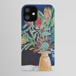 Yellow and Red Australian Wildflower Bouquet in Pottery Vase on Navy, Original Still Life Painting iPhone Case