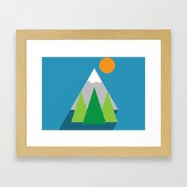Flat mountain poster Framed Art Print