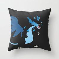 charizard Throw Pillows featuring Mega Charizard X PKMN by Rebekhaart